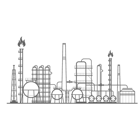 Petrochemical factory - manufacturing plant of chemical industry