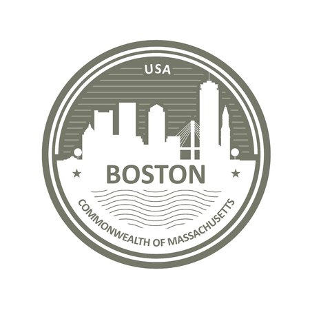 Badge with Boston skyline - Boston city emblem