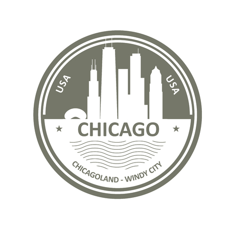 Badge with Chicago skyline - Chicago city emblem
