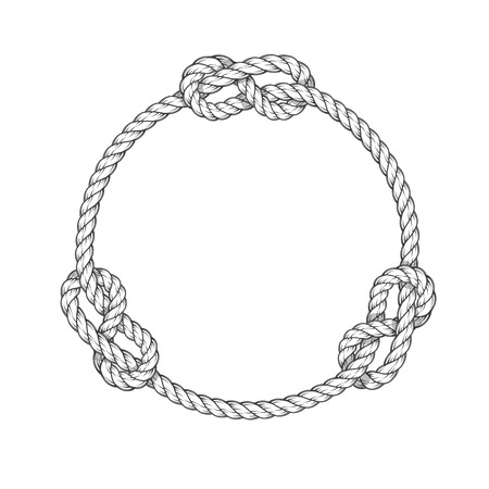 Rope circle - round rope frame with knots, vintage style Illustration