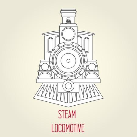 Stary widok z przodu lokomotywy parowej - zabytkowy pociąg
