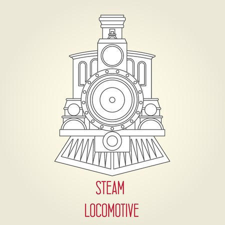 Old steam locomotive front view - vintage train Illustration