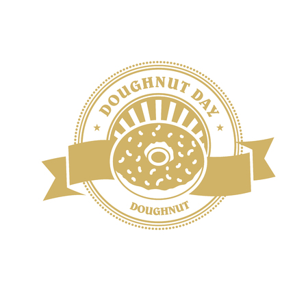 Doughnut day emblem or sticker with banner