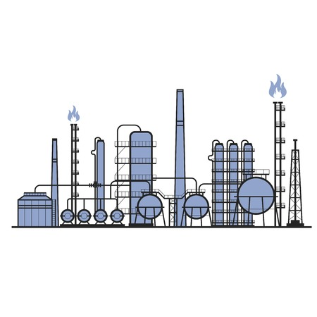 Petrochemical factory - manufacturing plant silhouette, chemical industry