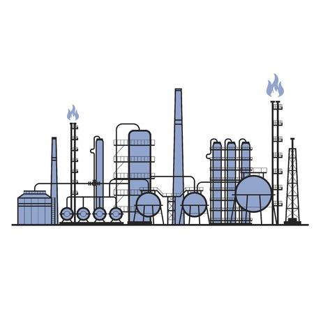 Petrochemische Fabrik - Silhouette der Produktionsanlage, chemische Industrie