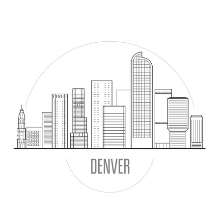 Denver city skyline - downtown cityscape, towers and landmarks in liner style
