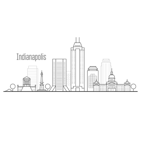 Indianapolis city skyline - downtown cityscape, towers and landmarks in liner style Illustration