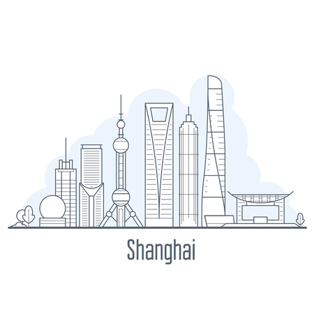 Shanghai city skyline - cityscape with landmarks in liner style  イラスト・ベクター素材