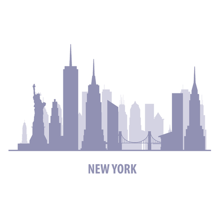 New York cityscape - Manhatten skyline silhouette 矢量图像