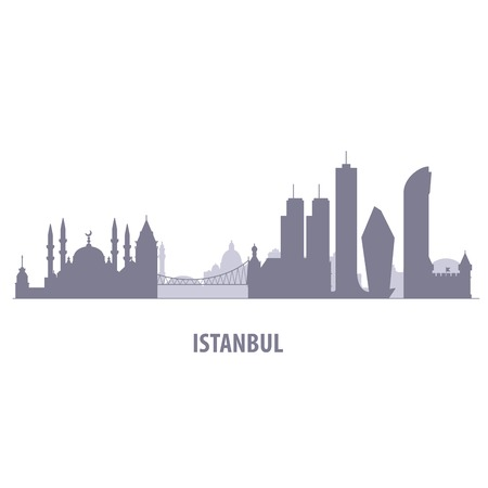 Istanbul cityscape - silhouette of skyline of Istanbul