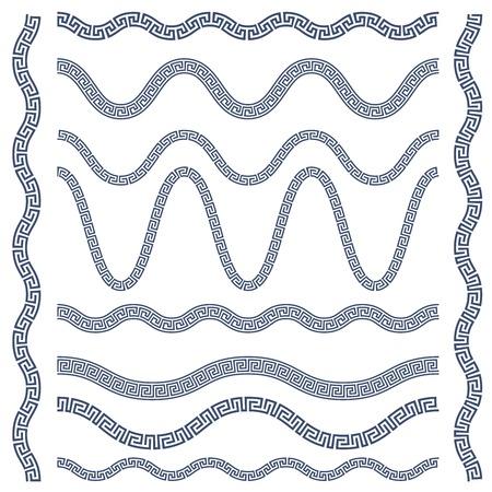 Wavy borders of greek ornament, meander style pattern frames Illustration
