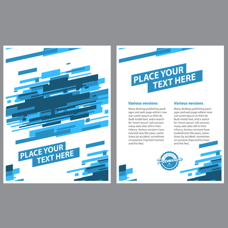 Layout template design of poster with abstract blue lines background
