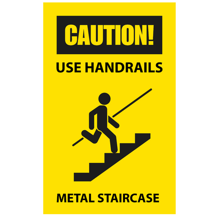 Use handrails to avoid a fall - caution of stairway, sign Illustration