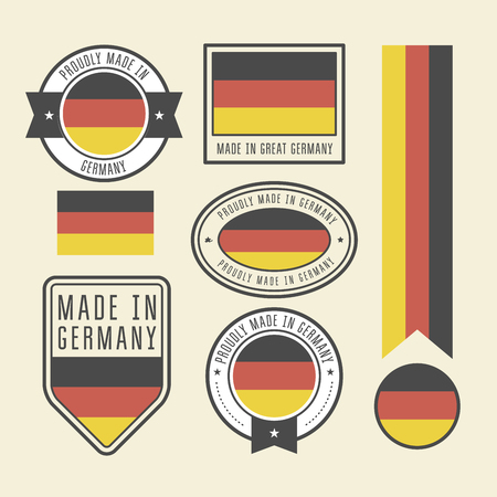 Stickers, tags and labels with Germany flag - badges  イラスト・ベクター素材
