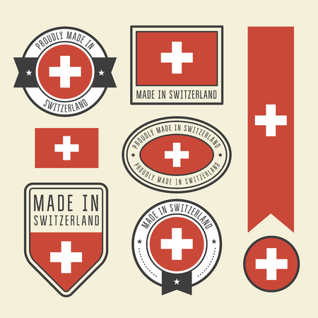 Stickers, tags and labels with Switzerland flag - badges Ilustração