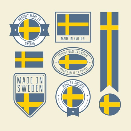 Stickers, tags and labels with Sweden flag - badges  イラスト・ベクター素材