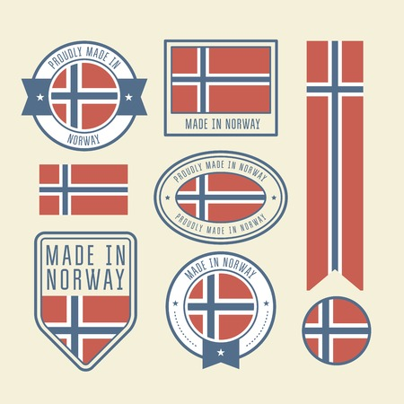 Stickers, tags and labels with Norway flag - badges