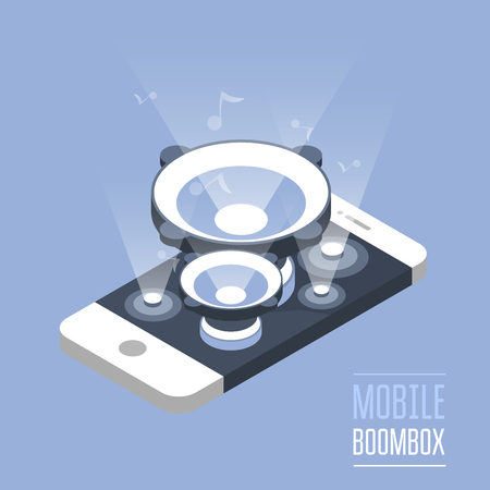Smartphone with loudspeakers - isometric phone, loud music concept Illustration