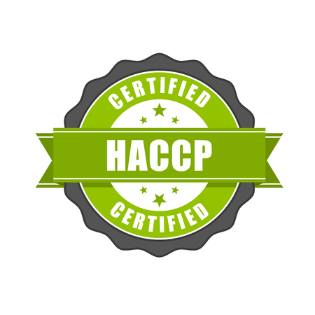 HACCP certified - quality standard seal, Hazard Analysis and Critical Control Points Vector Illustration