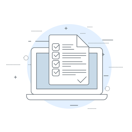 Laptop and checklist - inspection or verification icon Illustration