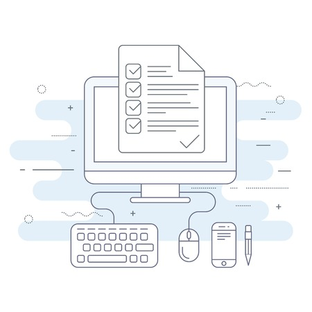 Computer with checklist, agenda or day plan - workplace icon