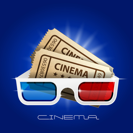 Cinema art movie watching - 3d glasses and tickets  イラスト・ベクター素材