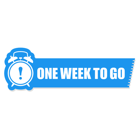 One week to go label -  sticker with ringing alarm clock, sale