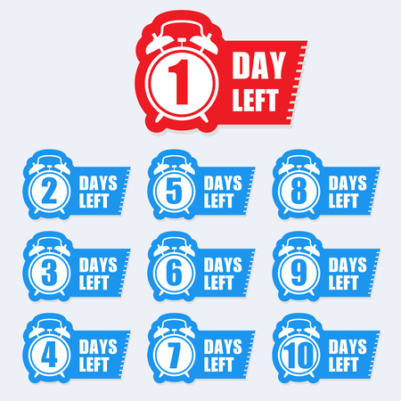 Number of days left badge for sale or promotion sale label -  sticker with alarm clock  イラスト・ベクター素材