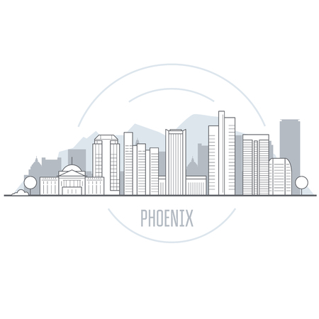 Phoenix city skyline - towers and landmarks of Arizona, cityscape