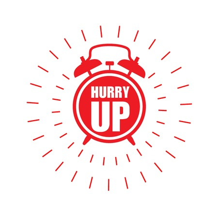 Hurry up sticker or label - sale ringing badge with alarm clock