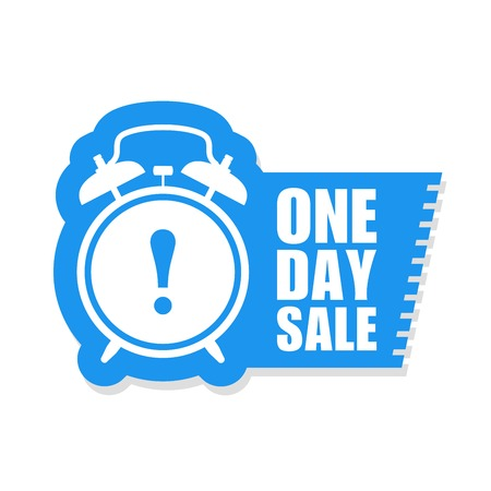 One day sale sticker or label - sale ringing alarm clock 向量圖像