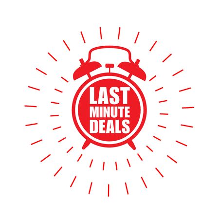 Last minute deals sticker or label - sale ringing badge with alarm clock