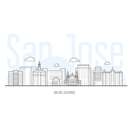 San Jose city skyline - cityscape and landmarks of San Jose, California