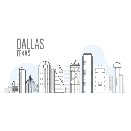Dallas city skyline - cityscape and landmarks of Dallas, Texas