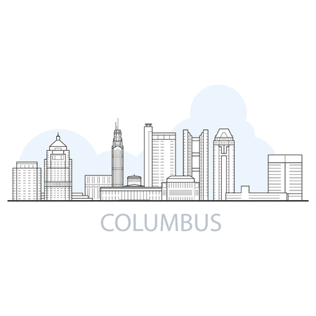 Columbus city skyline - cityscape and landmarks of Columbus, Ohio  イラスト・ベクター素材