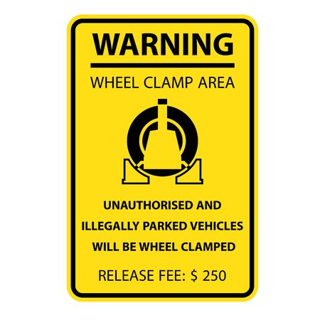 Wheel clamping warning sign - no parking, car wheel clamp symbol 向量圖像