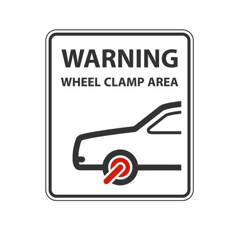 No parking warning sign with car clamped wheel - clamp symbol