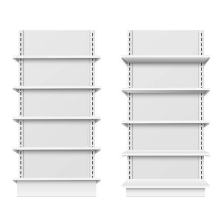 Empty store shelves, blank retail shelf design, supermarket showcase mockup isolated on background