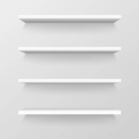 Empty store shelves, blank retail showcase, supermarket shelf template Illustration