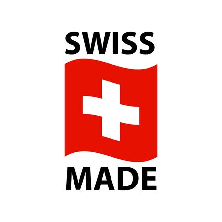 Swiss made   - icon with wavy flag of Switzerland - Swiss made products package label 向量圖像