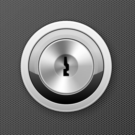 Modern keyhole - door lock icon, flat key hole, bank cell access concept Illustration
