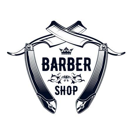 Vintage barbershop emblem - old straight razor, barber shop Illustration