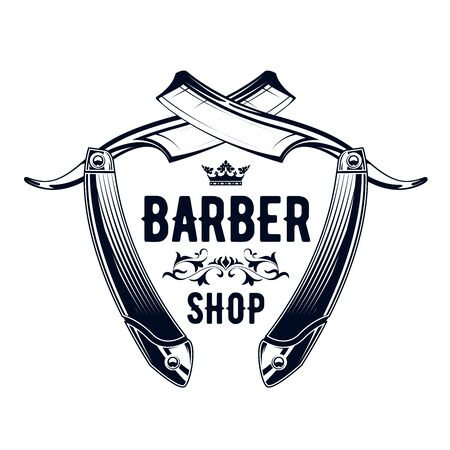 Vintage barbershop emblem - old straight razor, barber shop 向量圖像