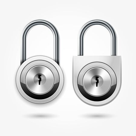 Modern padlock - round locker door lock icon for flat key, school lockers 向量圖像