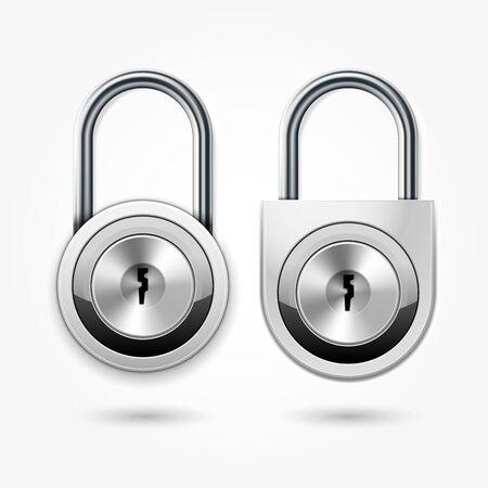 Modern padlock - round locker door lock icon for flat key, school lockers Illustration