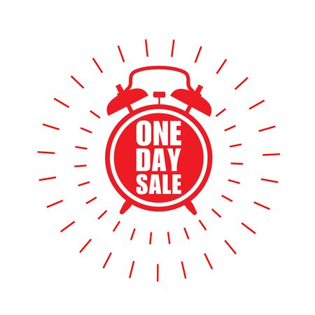 One day sale sticker - sale label with ringing alarm clock and haste call Illustration