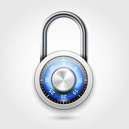 School lockers combination padlock - round lock icon with code 向量圖像