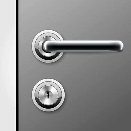 Modern door handle and keyhole for flat key - doorknob on locked door