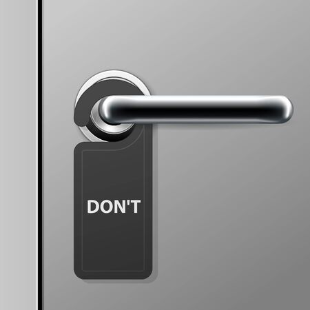 Dont disturb sign - hotel door hanger on doorknob - modern door handle in motel
