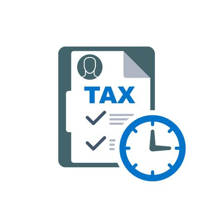 Time to pay tax - accounting reminder icon with checklist and clock, taxes payment 向量圖像